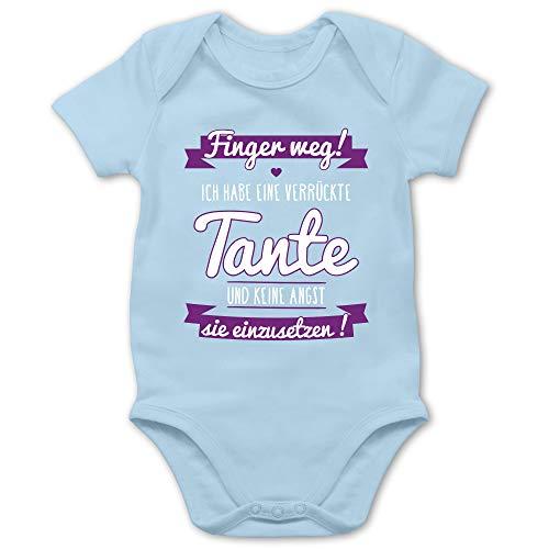 Shirtracer Sprüche Baby - Ich Habe eine verrückte Tante Lila - 6/12 Monate - Babyblau - babysachen mädchen - BZ10 - Baby Body Kurzarm für Jungen und Mädchen