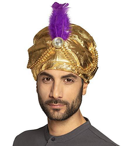 Turbante dorado con pluma para Sultan Alibaba botella espritu de mil y una noche de schinn 1001 Bollywood