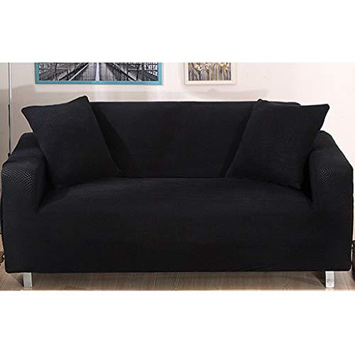 JRAVELR Samt Sofabezug Stretch Couch Bezug Universal Sofabezüge Polyester Pet Dog Sofa Protector Einfarbiger Schonbezug Black 2 Seats