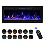 FULLWATT 50' Electric Fireplace in Recessed and Wall Mounted Fireplace with Remote Control Touch Screen Adjustable 12 Flame Colors, 750/1500W Heater (Black)