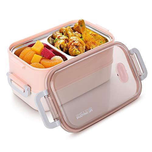 Jelife Boîtes Bento Lunch Box 2 Étages, Bento Box Japonais - Micro-Ondes&Lave-Vaisselle pour Travail Bureau École 1600ml (Blanc et Rose)