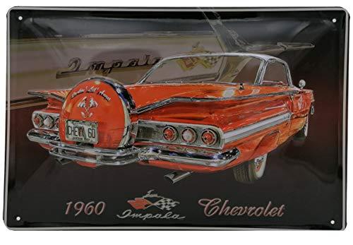 Chevrolet, Chevy Impala Oldtimer Blechschild - hochwertig geprägt, 30 x 20 cm Wandschild, Türschild, Dekoration