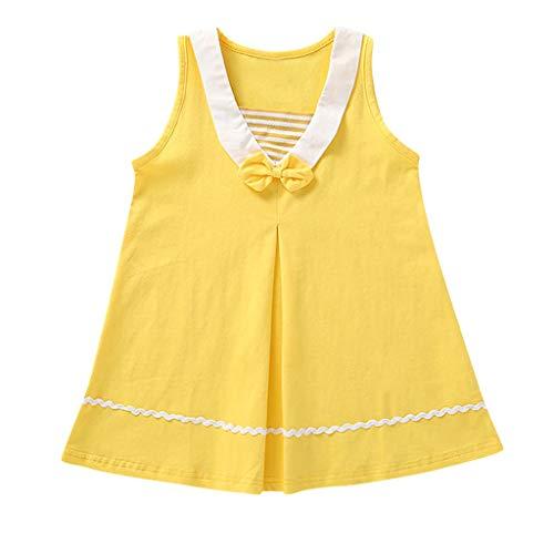 Julhold Kleinkind Kinder Baby Mädchen Lässig Niedlich Fliege Gestreift Lässig Prinzessin Dünnes Kleid Sommerkleid 1-5 Jahre