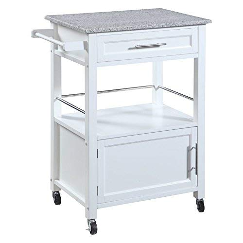 White Linon Storage Cart On Wheels With Granite Top. Great For Small Kitchens!!