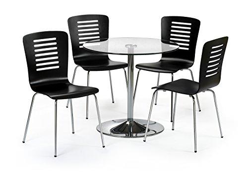 Julian Bowen Kudos Esstisch Set mit 4Stühlen, schwarz/klar Glas