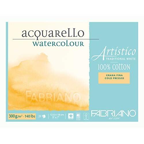 Fabriano Blocco Artistico Traditional White, 12,5x18 Cm, 300 Gr, Grana Fina, 25 Fogli