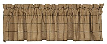New IHF Burlap Check Design Window Curtain Valance 100% Cotton 72 x 14 Inches Natural Sand Color