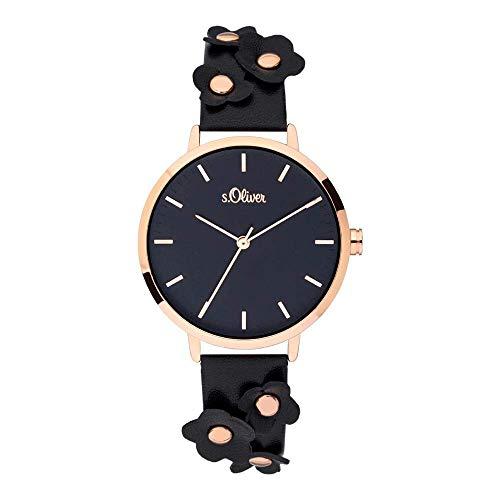 s.Oliver Damen Analog Quarz Uhr mit Leder Armband SO-3700-LQ