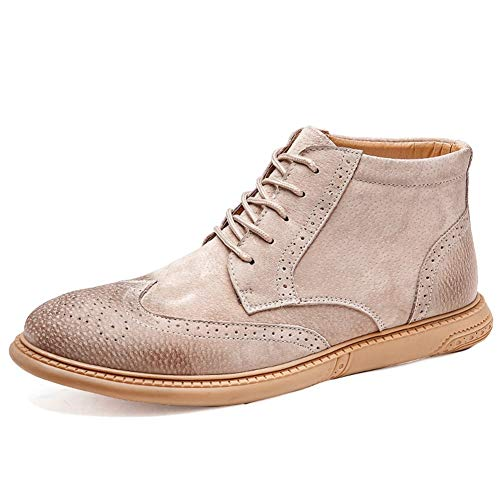 Heren Enkellaarzen Brogue Carving Oxford Laarzen voor Mannen Enkellaarsje Lace up PU Leer Ronde Teen Geperforeerde Wingtip Gepolijst Stijl Wingtip Anti-Slip Fashion Laarzen