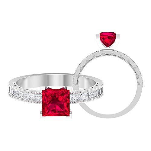 Anillo de boda de compromiso de corte princesa de 2,04 ct con solitario de rubí creado en laboratorio, para mujer, claridad de color de diamante, 14K Oro blanco, ruby lab creado, Size:US 48
