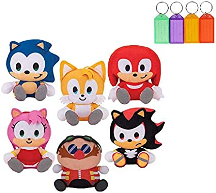 Amazon.com: Sonic The Hedgehog Shadow Tails Knuckles Amy Dr. Eggman Plush  Stuffed Figure Official Licensed + Bonus With Name Tag (Set Of 6): Toys &  Games