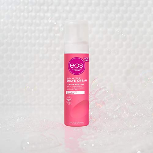 eos Shea Better Shaving Cream for Women- Pomegranate Raspberry | Shave Cream, Skin Care and Lotion with Shea Butter and Aloe | 24 Hour Hydration | 7 fl oz