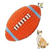 Balle Chien Jouet Ballon de Rugby, Ballon de Rugby pour Chien, Jouet Balle Chien en Caoutchouc, Jouet Chien Balle Dog Training Ball, pour Chiens Moyens et Grands (Orange)