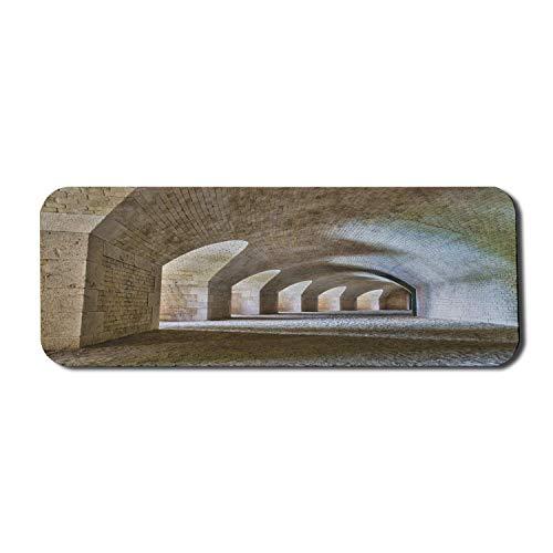 Alfombrilla de ratón de Ordenador Medieval, Interior del túnel del Castillo con Arcos en un diseño histórico de la Fortaleza de bastión, Alfombrilla de ratón de Goma Antideslizante Rectangular Grande