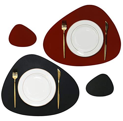 Olrla Tischset und Untersetzer aus PU-Leder zweifarbig, 4 Platzsets und 4 Untersetzer für die Hausparty bei Dinnerpartys (Schwarz + Rot)