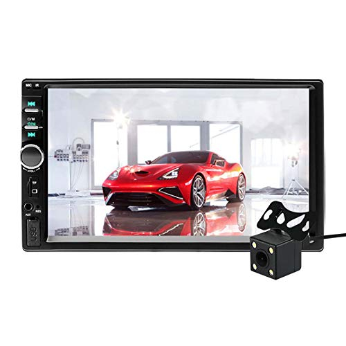 """Aigoss Car Stereo Bluetooth MP5 Video Digital Player 7"""" Touch Screen 2 Din Car Radio Wireless Remote Control Hands Free Multimedia with Rear-View Camera, Support Backup/TF/FM/AUX/USB"""