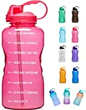 Giotto Large 1 Gallon/128oz (When Full) Motivational Water Bottle with Time Marker & Straw, Leakproof Tritan BPA Free, Ensure You Drink Enough Water Daily for Fitness, Gym and Outdoor Sports-Pink