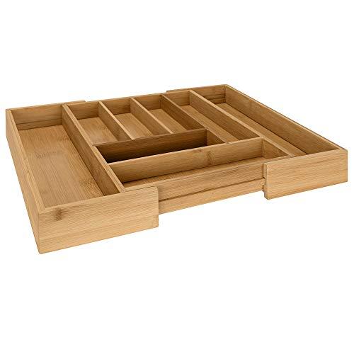 RSW24 - Portaposate con cassetto in bambù, misura regolabile, fino a 8 scomparti