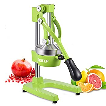 Frifer Manual Citrus Juicer Hand Press,Commercial Orange Lemon Juicer Squeezer Heavy Duty Cast Iron Fuselage and Base,Stainless Steel Funnel&filter screen,Durable and Easy to Clean Light Green