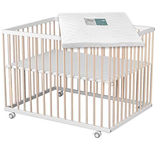 Sämann Laufgitter Basic 75x100 cm mit Matratze weiß/natur, höhenverstellbar, Baby Laufstall, Buche