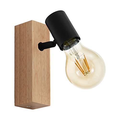 EGLO Wandlampe Townshend 3, 1 flammige Vintage Wandleuchte im Industrial Design, Retro Lampe aus Stahl und Holz, Farbe: Schwarz, braun, Fassung: E27
