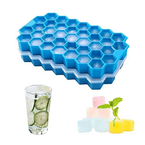 Dribotway Cubitera de silicona sin BPA, paquete de 2, 37 compartimentos con tapa, para bebidas frías, whisky y cócteles (azul)