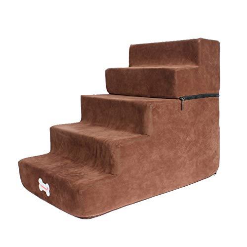JLXJ Escaleras escalones Mascotas Perros Gatos Escaleras/Escalones, Rampa para Perros de 5 Pasos para Sofá Cama Alto, Alto: 50cm, Fondo Antideslizante, Desmontable Lavable Tapa Blanda (Color : Brown)
