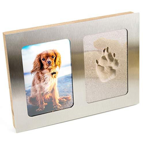 pet imprint Pfotenabdruck 3D Set Formschaum grau Hund, Katze Bilderrahmen aus Holz und Edelstahl ohne Gips