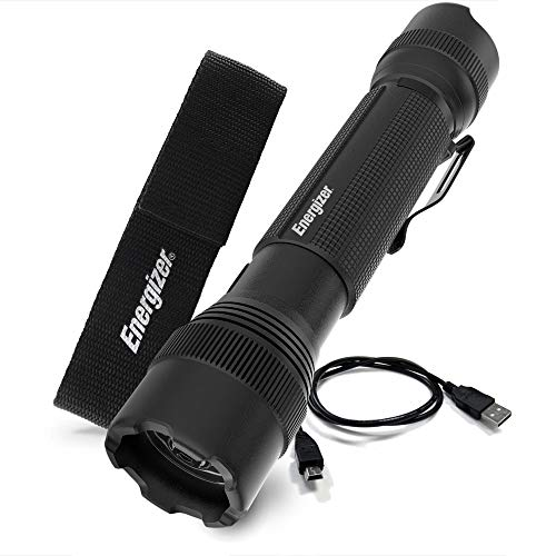 Energizer TAC R 800 Rechargeable Flashlight, 800 Lumens, IPX4 Water-Resistant, Aircraft-Grade Aluminum Tactical Flashlight, Outstanding Outdoor, Indoor and Emergency LED Light