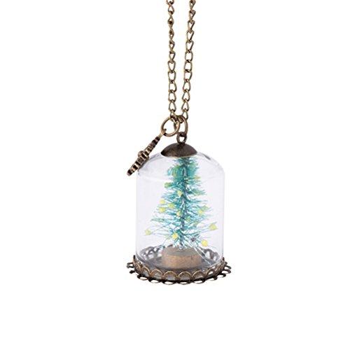 TENDYCOCO Halskette Wünsche Flasche Halskette Anhänger Glaskuppelabdeckung Weihnachtsbaum Halskette für Frauen Mädchen