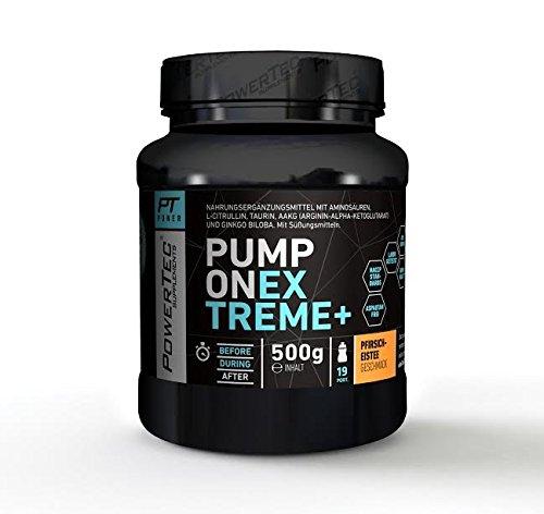 POWERTEC SUPPLEMENTS Pump ON Extreme+ Booster - hochwertiger Pump-Booster mit BCAAs, Glutamin, Citrullin und AAKGs für Muskelaufbau Pfirsich-Eistee, 500 g
