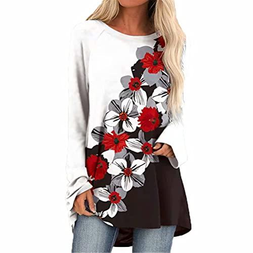 ZFQQ Otoño e Invierno Camiseta Estampada de Manga Larga con Cuello Redondo y Suelta de Gran tamaño para Mujer
