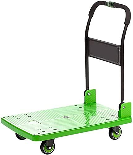 Eortzpc Carretilla de mano Trolley de alta resistencia PÁGINAS Plástico engrosado de carro de coche carretilla plegable alto rodamiento de carga rueda muda camión de empuje hogar (color: verde, Tamaño