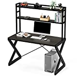 HOMECHO 47' Computer Desk with Hutch, Industrial Desk with Shelves, Study Writing Ladder Desk with Bookshelf, PC Workstation Gaming Table for Home Office, Metal Frame, Dark Brown