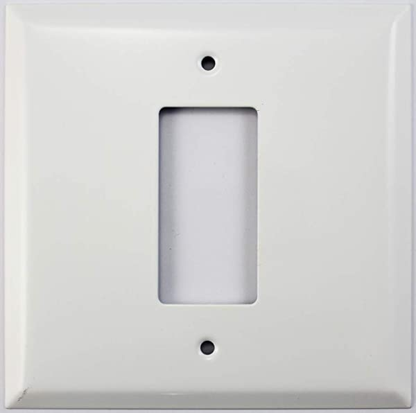 Over Sized Jumbo Smooth White 2 Gang Wall Plate 1 GFCI Rocker Opening