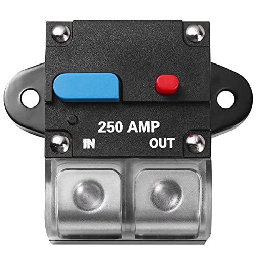 VICASKY Interruptor de Circuito Amp 250A Interruptor de Circuito Rearmable para Coche Fusible de Recuperación Automática Botón de Reinicio Manual Interruptor de Circuito Fusible