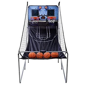 HomGarden Foldable Indoor Basketball Arcade Game Sport Double Triple Electronic Hoops Shot 2 Players w/4 Balls Inflation Pump for Kids and Adults