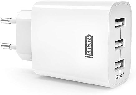 USB Ladegerät RAVPower 3-Port 30W 6A Ladeadapter mit iSmart Technologie für iPhone X XS XR XS Max 8 7 6 Plus, iPad Pro Air Mini, Galaxy S9 S8 Plus, LG, Huawei, HTC, Powerbank, MP3 usw. weiß