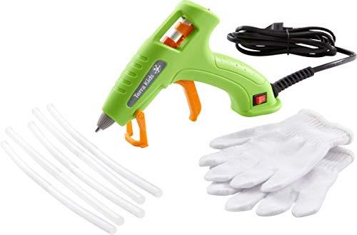 HABA 305380 - Terra Kids Heißklebepistole & Zubehör, Klebepistolen-Set Kinder, mit Einschaltknopf, Kontrolllampe, Standfuß, 5 Heißklebestäben und Handschuhen