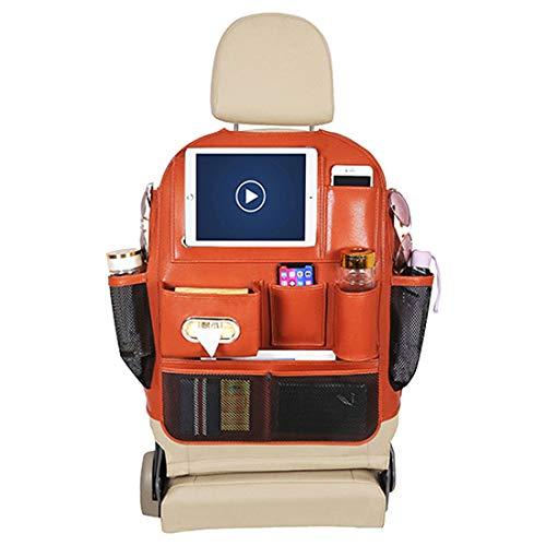VictoryMeet auto rugleuning beschermer auto organizer voor baby voor kinderen multifunctionele rugleuning tas + tablet iPad opknoping tas en schop matten bescherming voor auto ORANJE