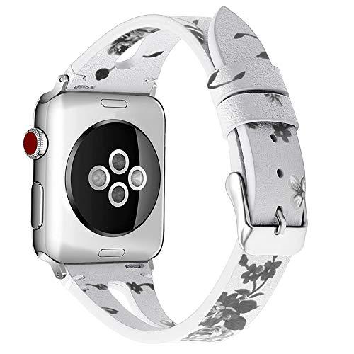 HTMP-HS Reloj Inteligente Hombre Mujer Correa Piel Estampada para Iwatch Series 1 2 3 4 5 38/40/42/44 MM con Cierre De Metal,B,42/44
