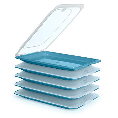 5er-Set Frischhaltebehälter für Lebensmittel, optimale Aufbewahrung von Aufschnitt im Kühlschrank, Maße 17 x 3,2 x 25,2 cm (5 x Meeresblau)