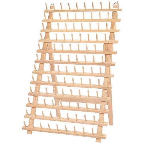 Curtzy Porta Hilos de Madera para 120 Carretes de Hilo - Organizador Costura de Pared con Ganchos para Colgarlo - Organizador de Hilos de Madera de Haya para Bordado, Costura, Hacer Colchas