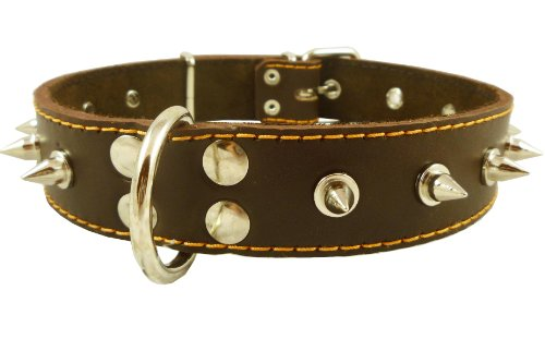 Dogs My Love Real Leather Brown Spiked Dog Collar Spikes, 1.5