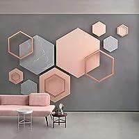 3D写真の壁紙北欧の壁画モダンな幾何学的なリビングルームのソファ寝室テレビの背景壁の装飾の壁紙-400x280cm