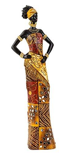 Escultura Moderna decoración Figura Mujer Africana de pie con Ropa Colorida, Altura 35 cm