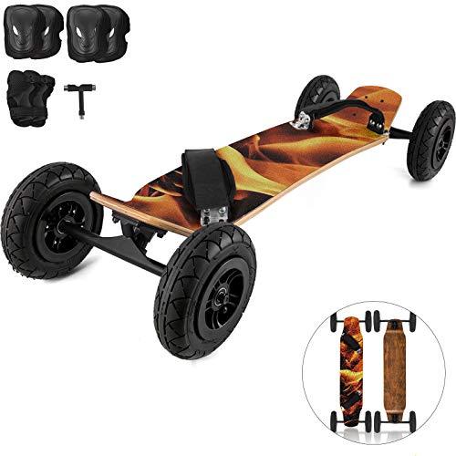 VEVOR Skateboard Professionnel 94x20 cm Longboard Skateboard Cruiser avec Roues 50x20 cm Moutainboard Planche à roulettes Cross Adulte Enfant Joueur Professionnel Débutan (Motif Feu)