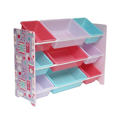 Kinderregal Spielzeugregal mit 9 Boxen Kinder Bücheregal Aufbewahrungsbox Spielzeugkiste Kinderzimmer Möbel HS-18HMD-002, 84 x 60 x 30 cm