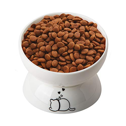 YouPeng Cat Bowls, Elevated Cat Food Bowls Anti Vomiting, Cat Dish 15 oz, Tilted Raised Cat Bowls for Food and Water, Gifts for Cats