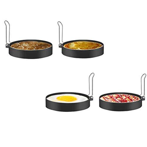lllteri eierringen, 4 stuks, voor eieren, pannenkoeken, braadpan, beefsteak, keukengereedschap, keuken, tool, eierkoker, keukenapparatuur, roestvrij staal, hittebestendig, ronde anti-aanbaklaag